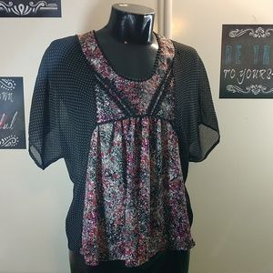 Xhiliration Mixed Print Blouse